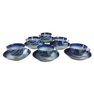 Vintage Mottahedeh Blue Canton Cups and Saucers Set 6