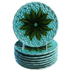 Schramberg  Majolica Turquoise Lilly of the Valley Plates Set of Eight
