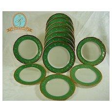 Green and Gilt Adderly Dessert Plates Circa 1920 set 12