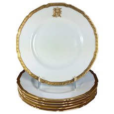 Antique Royal Doulton Dessert/Salad/Luncheon Plates Gilt and White set 6