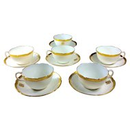 Royal Doulton Tea Cups and Saucers Gilt and White circa 1910 Set 6