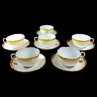Royal Doulton Tea Cups and Saucers Gilt and White circa 1910 Set 6