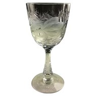 Hawkes Satin Iris Gravic  and Brilliant Cut Large Water or Wine Goblet