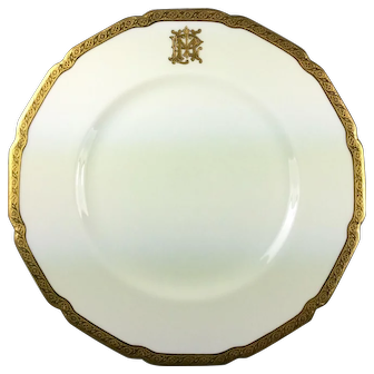 Antique Royal Doulton Dinner Plates Gilt and White Set of 4