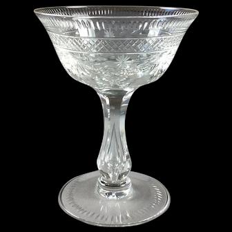 Crystal Champagne Coupe English Intaglio Cut Circa 1920