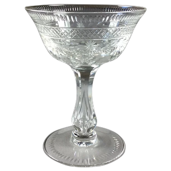 Crystal Champagne Coupe English Intaglio Cut Circa 1920
