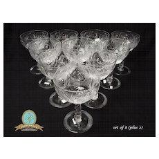 Antique Crystal Intaglio Engraved Twist Stem Dessert Bowls
