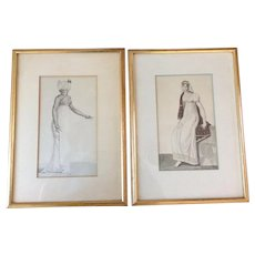 Pair Hand Colored Engravings of 19th Century Empire Fashions