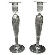 "Pairpoint ""Buckingham""  Elegant Glass Candlesticks 12"""
