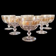 Val Saint Lambert Danse De Flore Gilt Crystal Dessert Bowls set 6