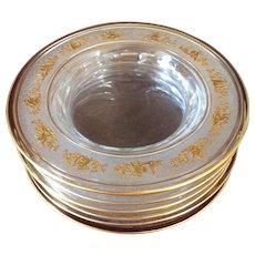Val Saint Lambert  Danse De Flore Gilt Crystal Dessert: Salad Plates Set 12
