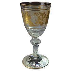 Val Saint Lambert Danse De Flore  Gilt Crystal Sherry or Small Wine Goblets