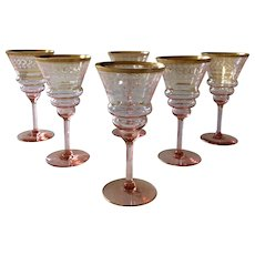 Vintage Etched Optic Pink Goblets with Gilt Trim: Set of 6