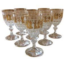Val Saint Lambert Gilt Danse de Flore Water/Wine Goblets Set 8