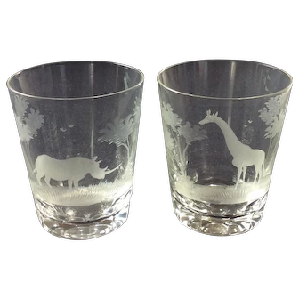 Pair Vintage Engraved Crystal Tumblers Rowland Ward, Kenya Big Game Series