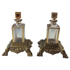 Pair Antique Lobmeyr Austrian Crystal Gilded Perfume Scent Bottles