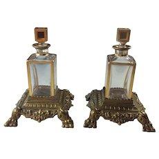 Pair Antique Lobmeyr Austrian Crystal Gilded Perfume Scent Bottles