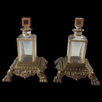 Pair Antique Lobmeyr Austrian Crystal Gilded Perfume Sent Bottles