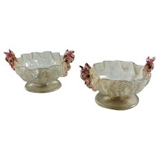 Pair Antique Murano Venetian Glass Salt Cellars by Salviati