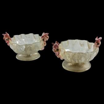 Set of Four Murano Venetian Glass Salt Cellars by Salviati