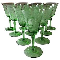 Vintage Green Fostoria Vesper Pattern Large Water Goblets Set 10