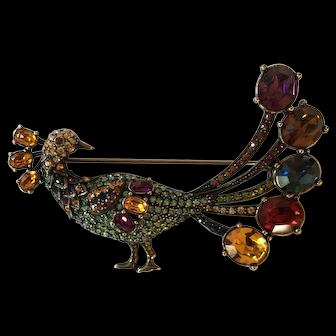 Heidi Daus Elegant Austrian Crystal and Rhinestone Peacock: Bird Brooch Pin