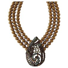 Heidi Daus Tear Drop Simulated Pearl and Austrian Crystal Necklace Bronze Tone