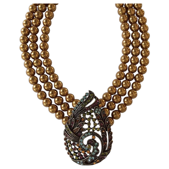 Heidi Daus Tear Drop Topaz Simulated Pearl and Austrian Crystal Necklace