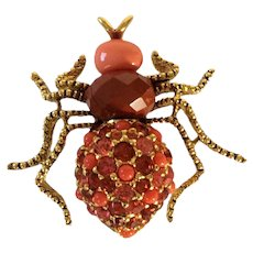 Joan Rivers  Spider Brooch with Austrian Crystals In Shades of Orange