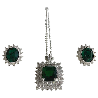 Nolan Miller Glamour Collection Simulated Emerald and Rhinestone Elegant Necklace and Earring Set