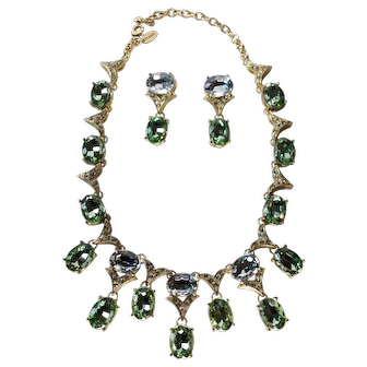 Arnold Scaasi Designer Peridot Green and Clear Austrian Crystal Statement Necklace and Drop Earrings
