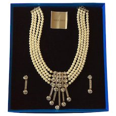 Heidi Daus Simulated Pearl and Crystal Necklace and Earrings : An Affair to Remember
