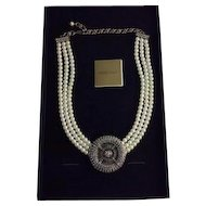 Heidi Daus Belgium Disk Simulated Pearl and Swarovski Crystal Necklace