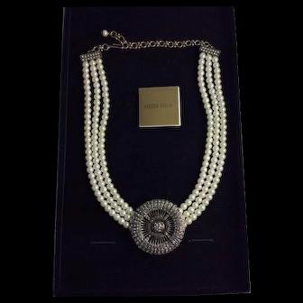 Heidi Daus Belgium Disk Simulated Pearl and Swarovski Crystal Necklace