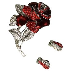 Nolan Miller First Lady Nancy Reagan Red Rhinestone Rose Pin Brooch and Earrings