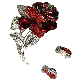 Nolan Miller First Lady Nancy Reagan Red Rhinestone and Enamel Rose Pin Brooch and Earrings