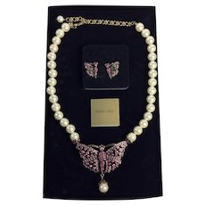 Heidi Daus Pink Swarovski Crystal and Faux Pearl Butterfly Necklace and Earrings
