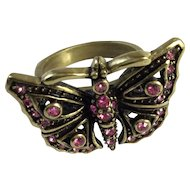 Heidi Daus Pink Swarovski Crystal Butterfly Ring