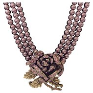 Heidi Daus Simulated Pearl and Crystal Lavender Rose Elegance Necklace