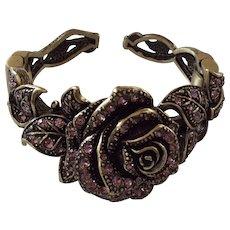 Heidi Daus Rose Elegance Lavender Swarovski Crystal Cuff Bracelet