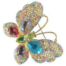 Joan Rivers Large Multi-Pastel Crystal Butterfly Pin/Brooch