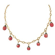Joan Rivers Lucky Lady Bug Red Enamel Charm Necklace