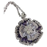 Nolan Miller Glamour Collection Amethyst Austrian Crystal Pansy Pendant Necklace