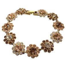 Nolan Miller Glamour Collection Crystal Flower Link Bracelet Champagne Tones