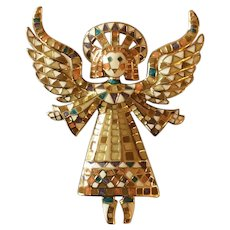 Bob Mackie Signed Guardian Angel Mosaic Enamel Brooch Pin