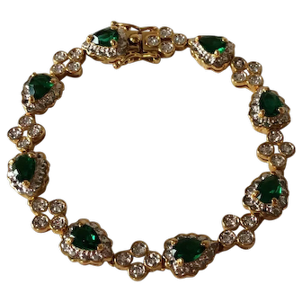 Camrose & Kross Jacqueline Kennedy  Emerald Green Swarovski Crystal Bracelet