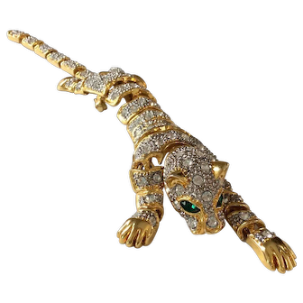 Large Vintage Pave Rhinestone Panther or Tiger Shoulder Pin: Brooch with Green Eyes