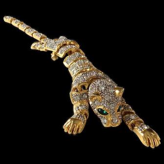 Large Vintage Pave Rhinestone Panther or Tiger Shoulder Brooch with Green Eyes
