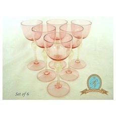 NG-105 Venetian/ Murano glass pink goblets set of 6