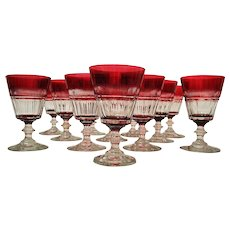 Pairpoint Cranberry: Ruby Cut to Clear Crystal Goblets: set of 8
